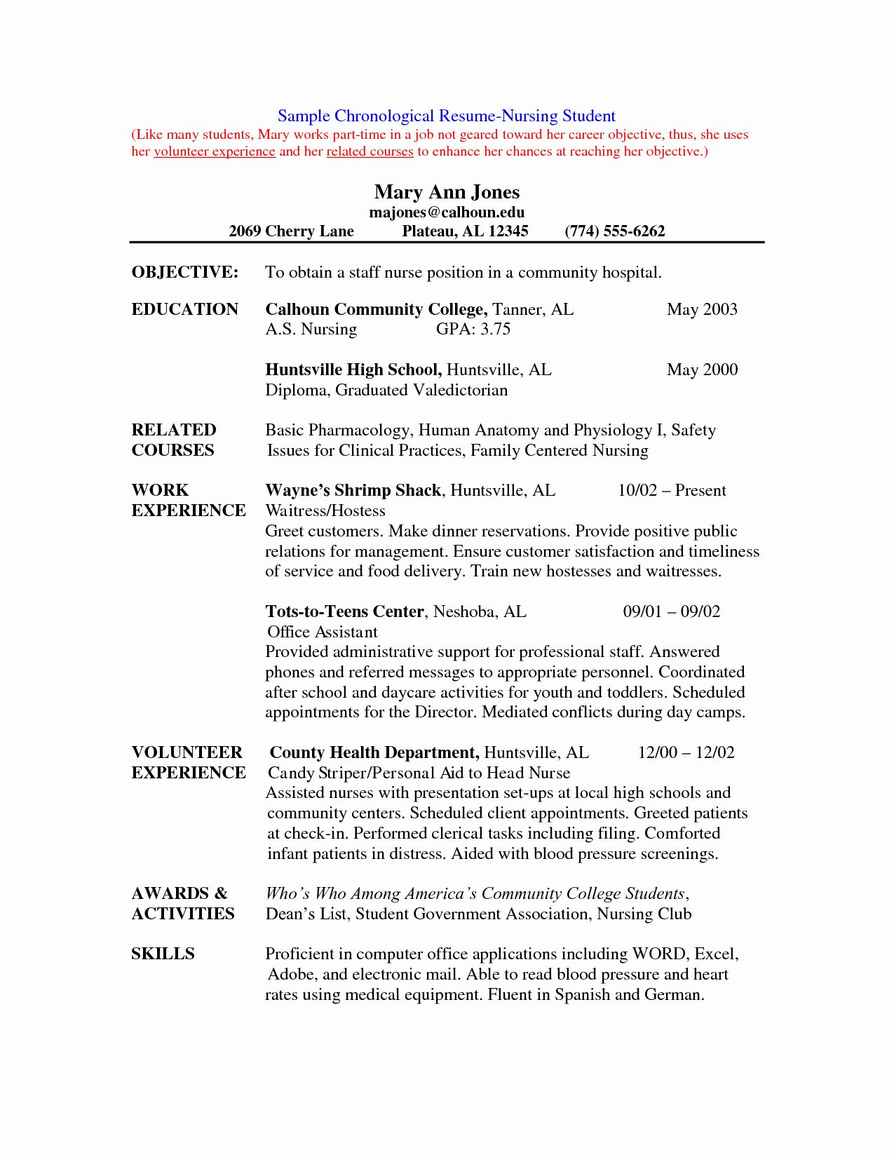 25 Nursing Student Resume Examples In 2020 With Images Student Nurse Resume Student Resume Template Student Resume