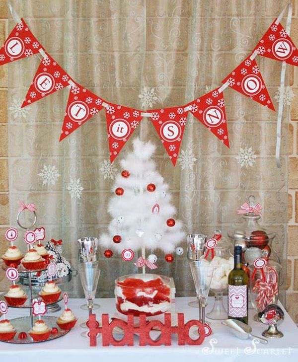 Christmas Party Decorations,, Red and White Colored Decor #decor