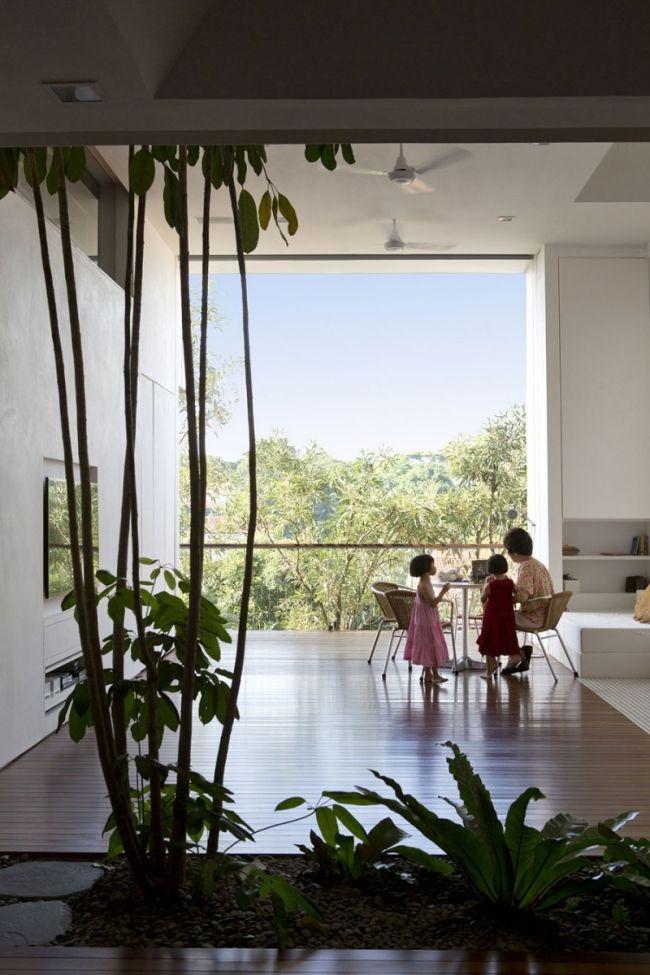 betonhaus innenarchitektur singapur dielenboden hohe decke palmen arch spatial impact in 2018. Black Bedroom Furniture Sets. Home Design Ideas