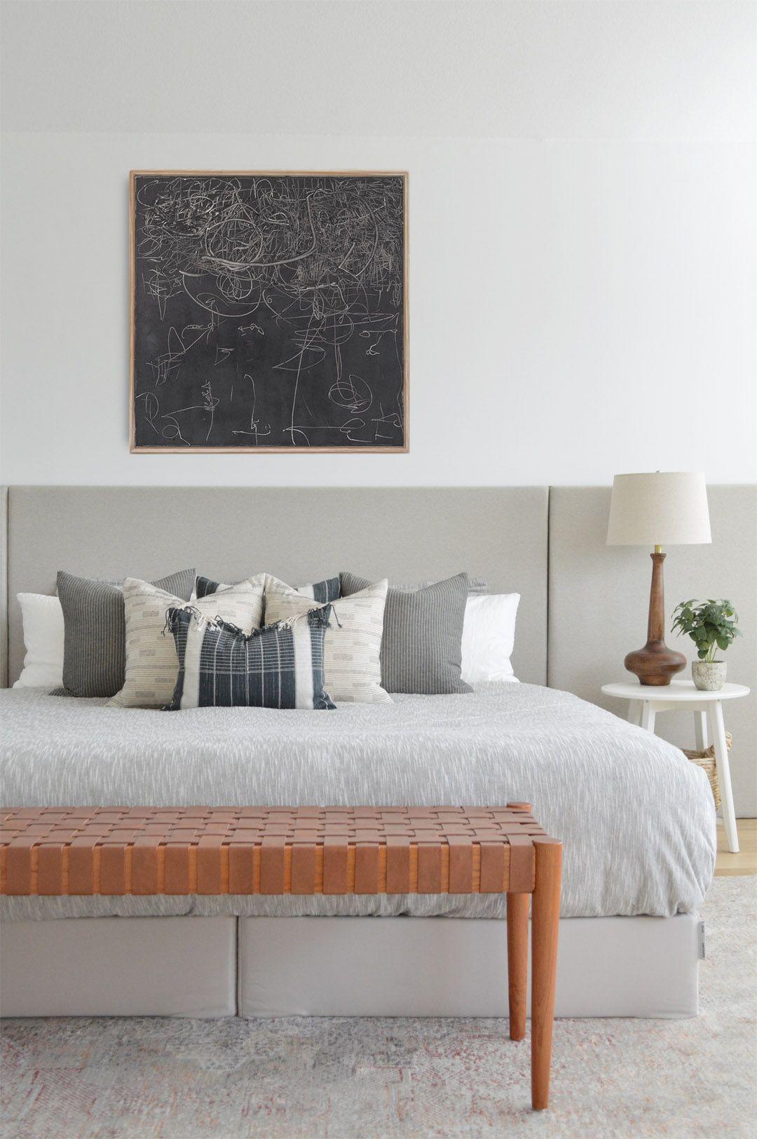 Best Diy Artwork And Upholstered Headboard Bedroom 400 x 300