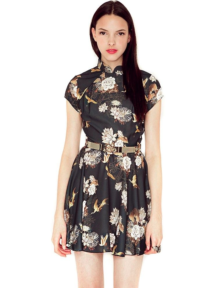 Oriental black dress - fit and flare dress - going out dress - floral party dress -$66