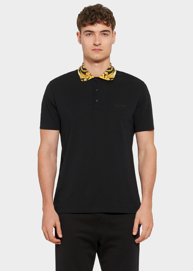 269ddbb37b Gold Hibiscus Print Collar Polo Shirt for Men | UK Online Store in ...