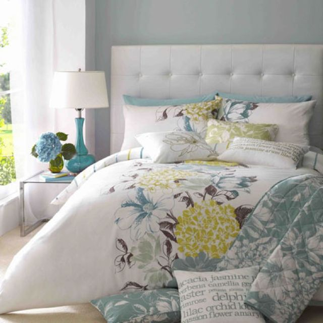 Yellow Grey Blue Bedding Love The Color