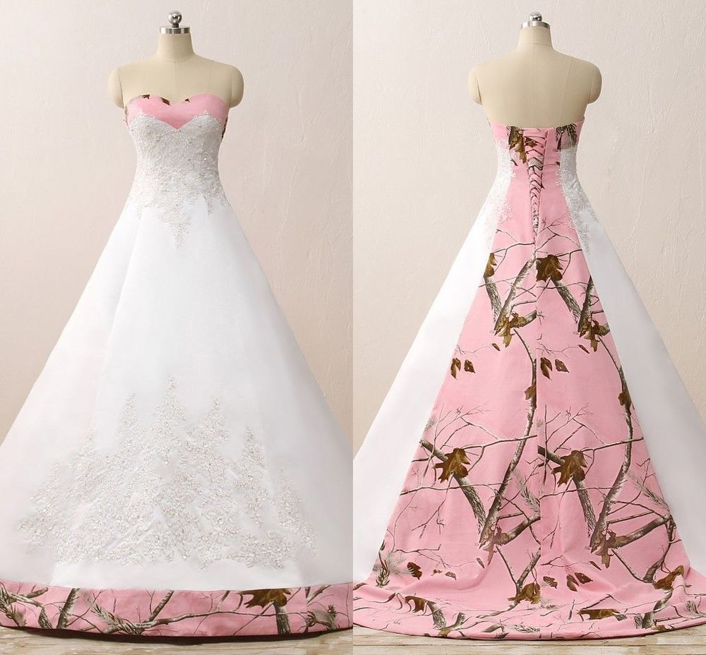 Custom pink camo ball gown wedding dresses camouflage appliques