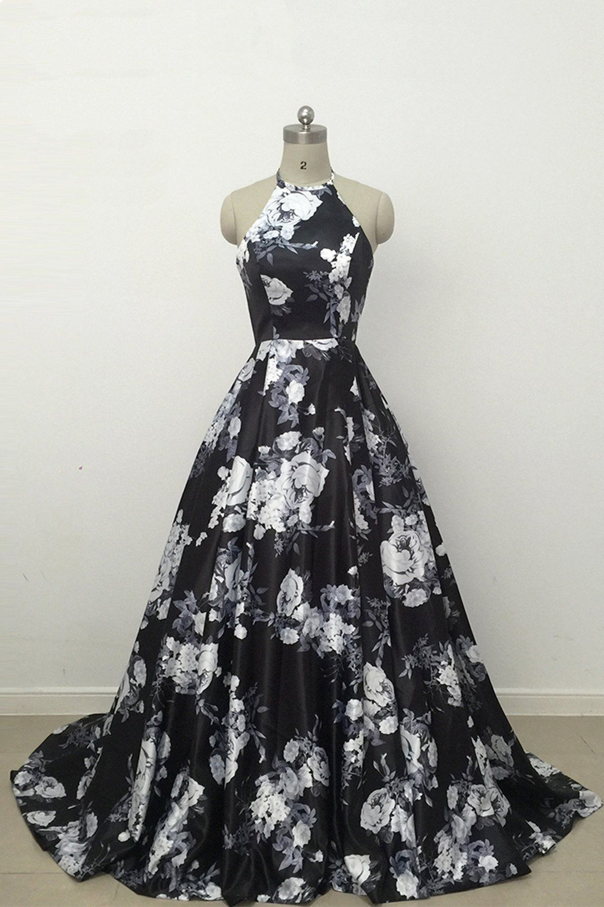 Cute black and white floral satin halter vintage print aline high