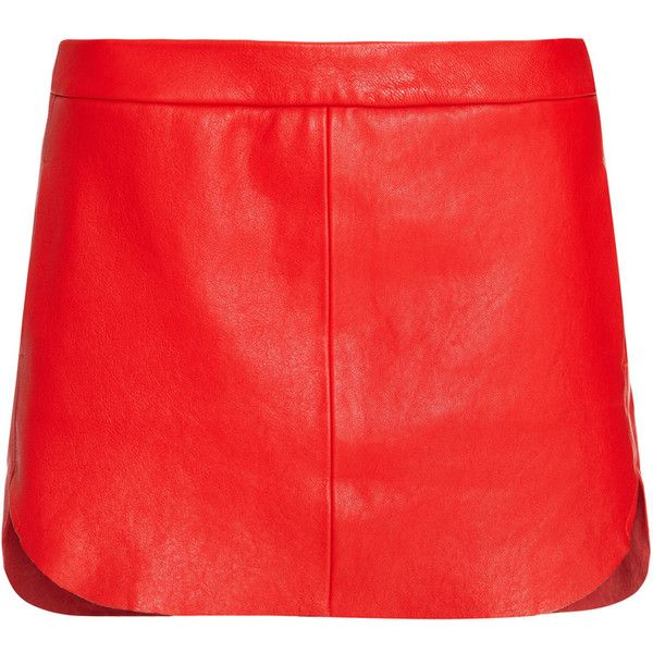 Leather Mini Skirt Red found on Polyvore