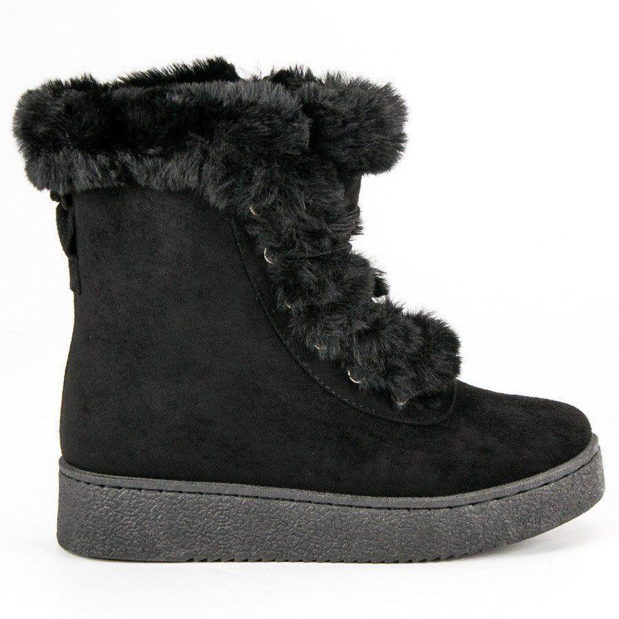 Cieple Buty Zimowe Czarne Boots Shoes Winter Boot