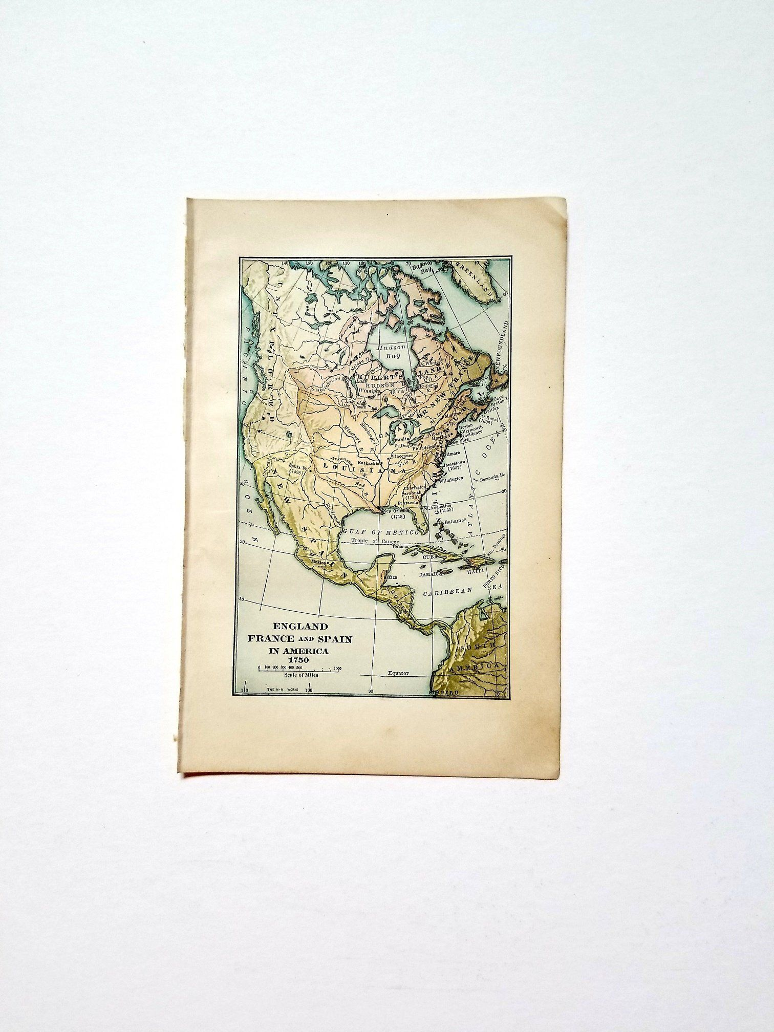 Vintage 1921 Map Of North America 1750 Map Wall Art Office Decor