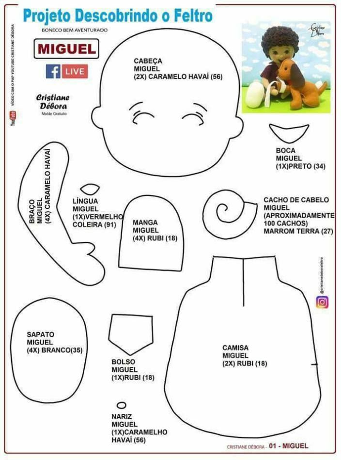 Molde de niño con mascota en fieltro | feltro | Felt dolls, Felt ...