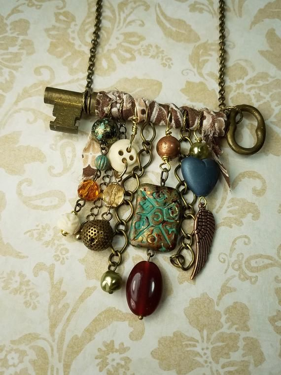 Photo of Rustic Antique Key Necklace Statement with Charms, One-of-a-kind