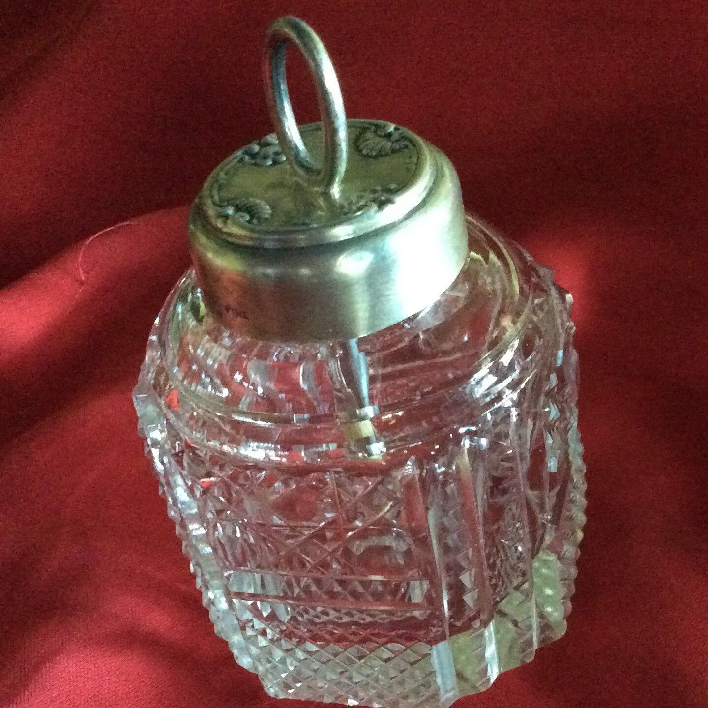 The ultimate accessory for your desk, this stunning Sterling silver topped glue pot .  RARE AND LOVELY!