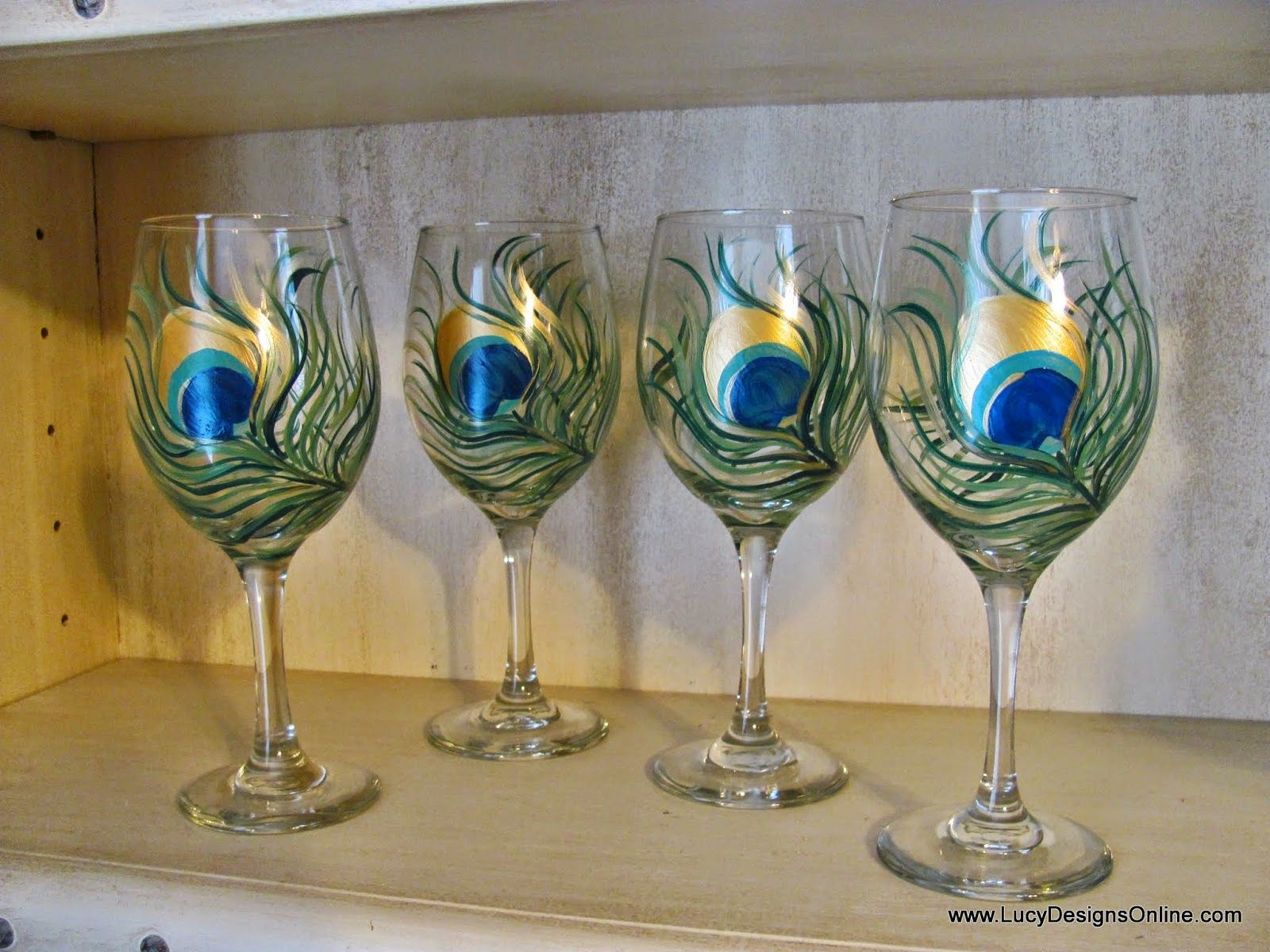 Wine Glass Ideas How To Paint On Glass Hand Painted Peacock Feather Wine