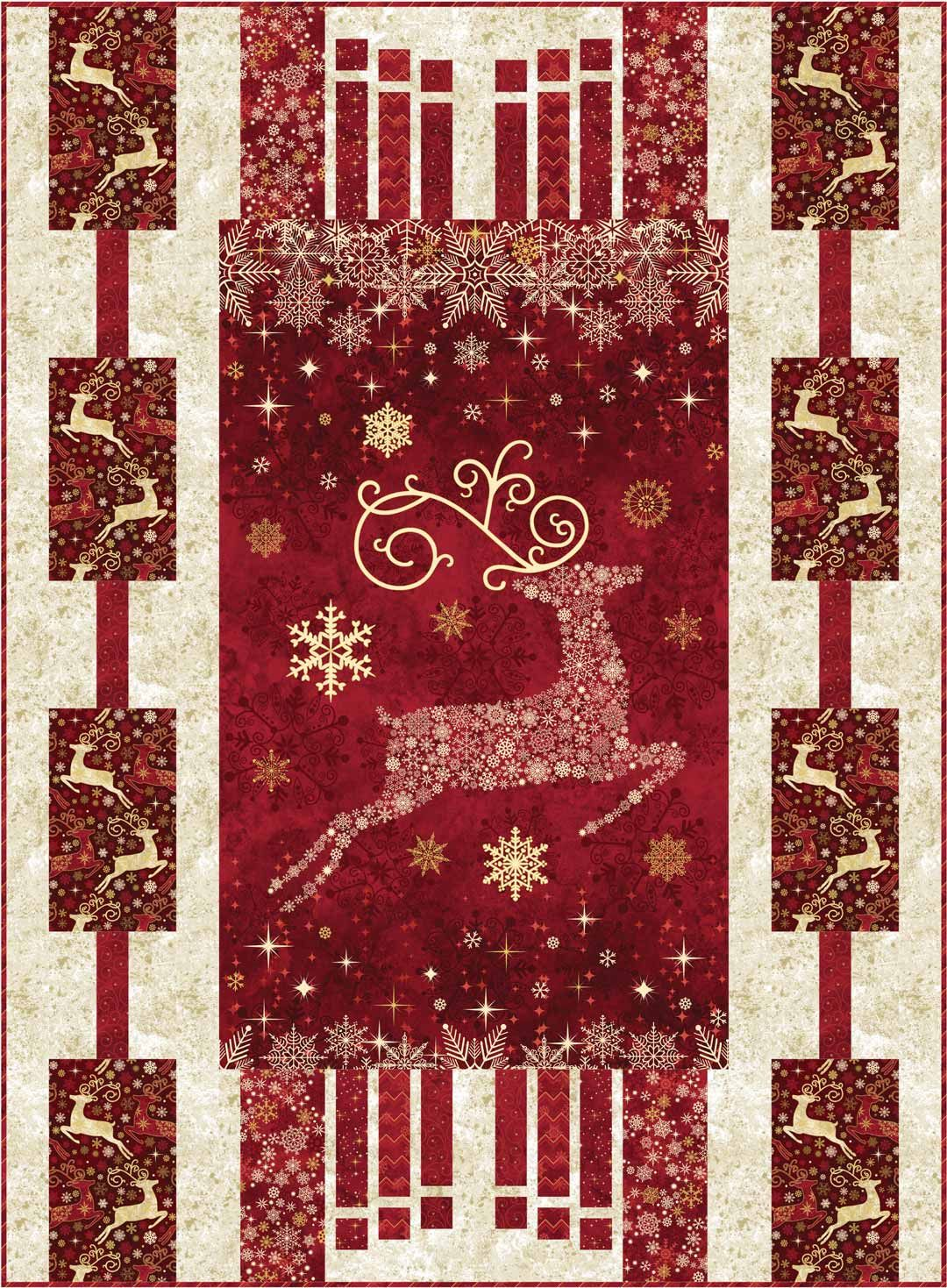 Dazzle Christmas panel quilt pattern with three border designs by ... : christmas quilting panels - Adamdwight.com