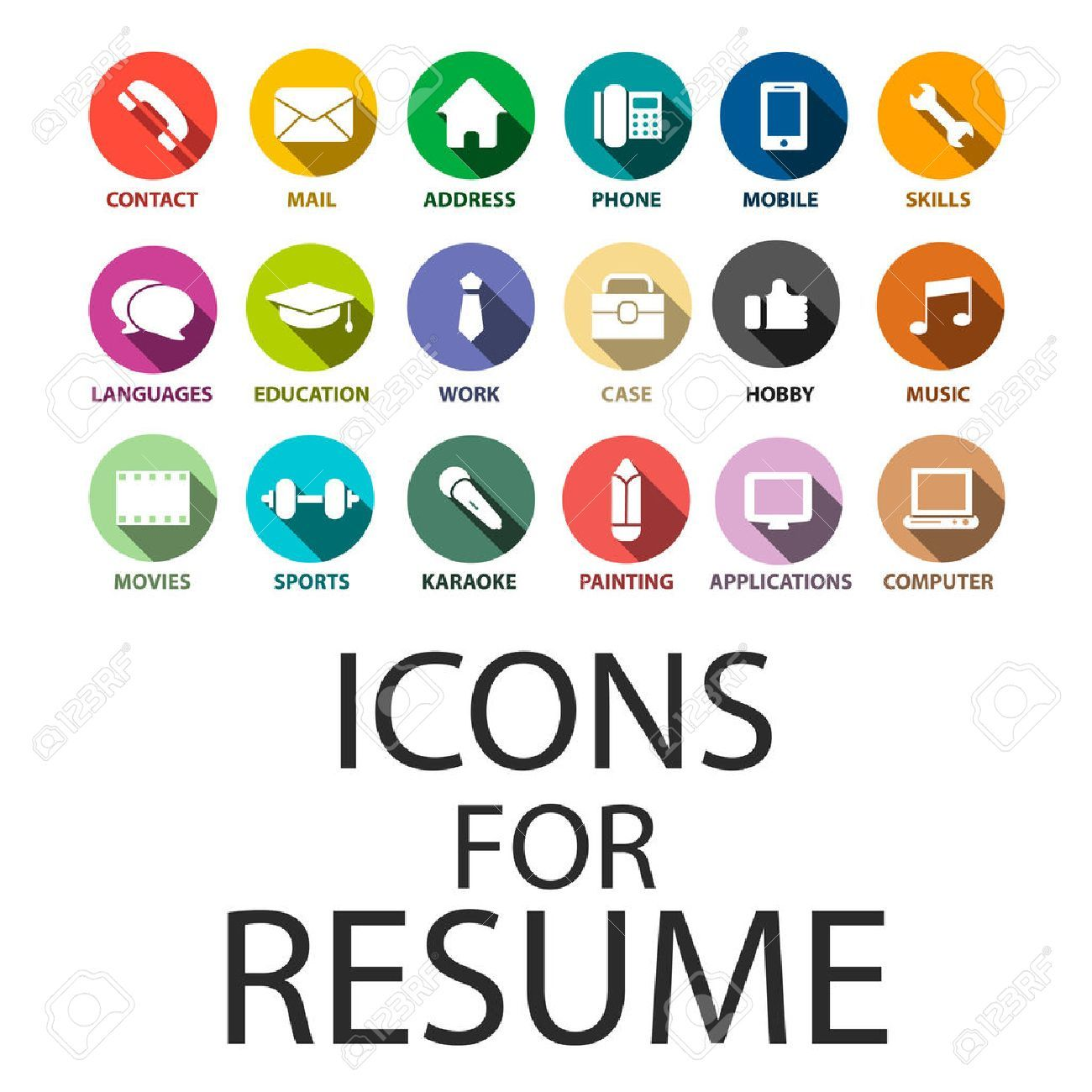 Icons Fur Ihren Lebenslauf Lebenslauf Job Eingestellt Graphic Design Resume Resume Icon