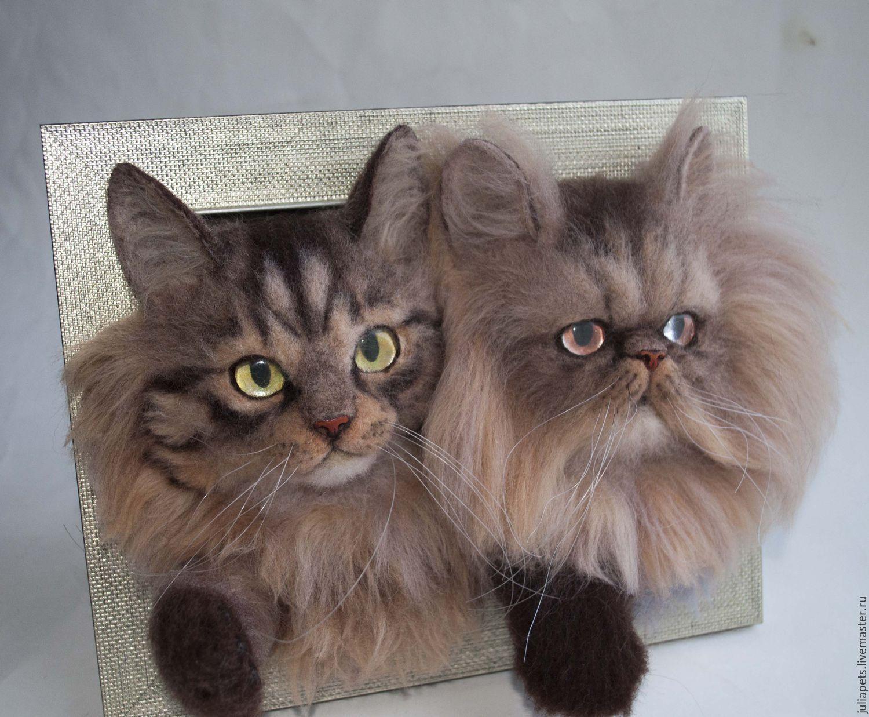 Купить Панно с кошками перс и бобтейл - коричневый, коты и кошки, кошка из шерсти, панно в подарок