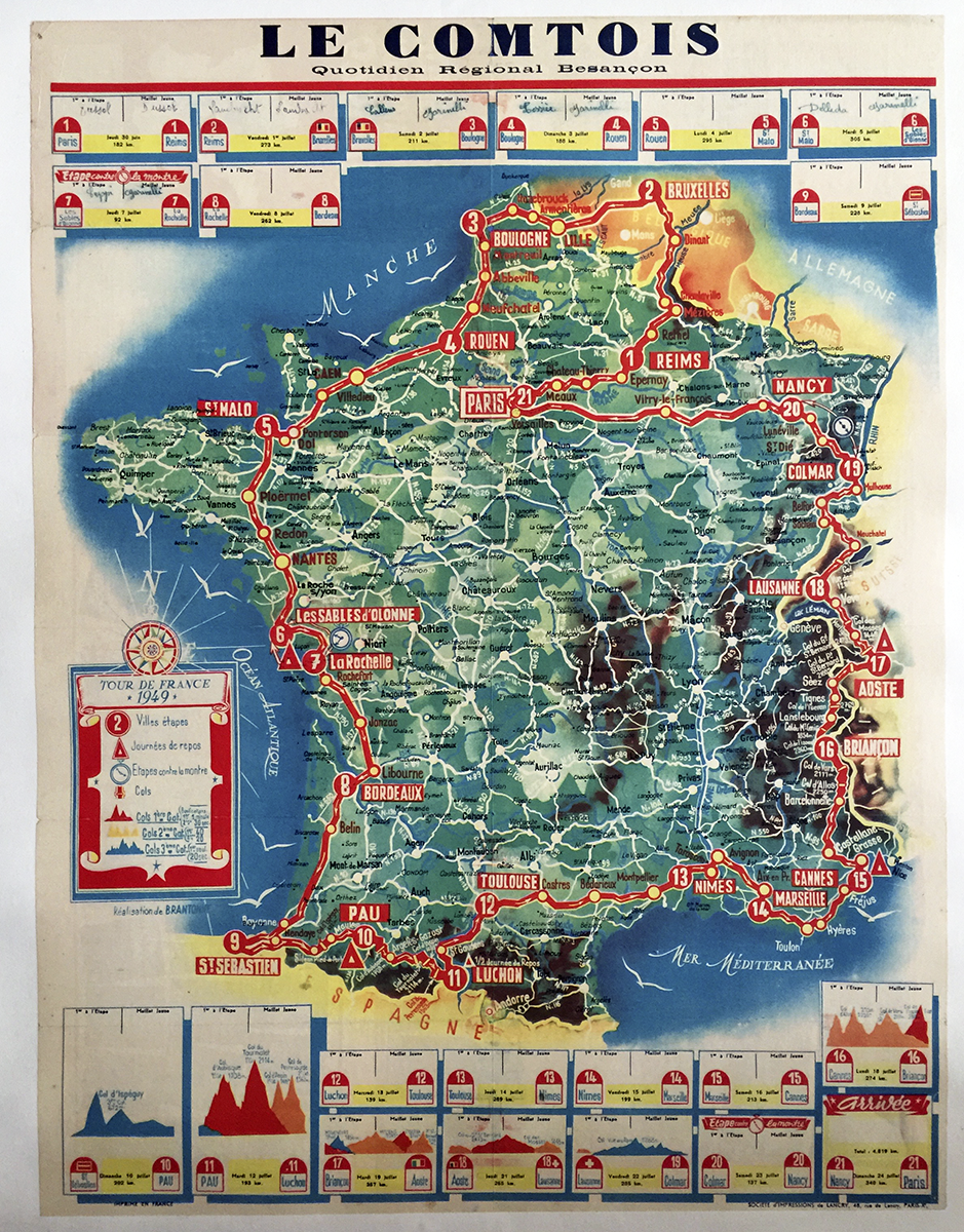 1949 Tour De France Route Map Vintage Bicycle Poster Poster Stage