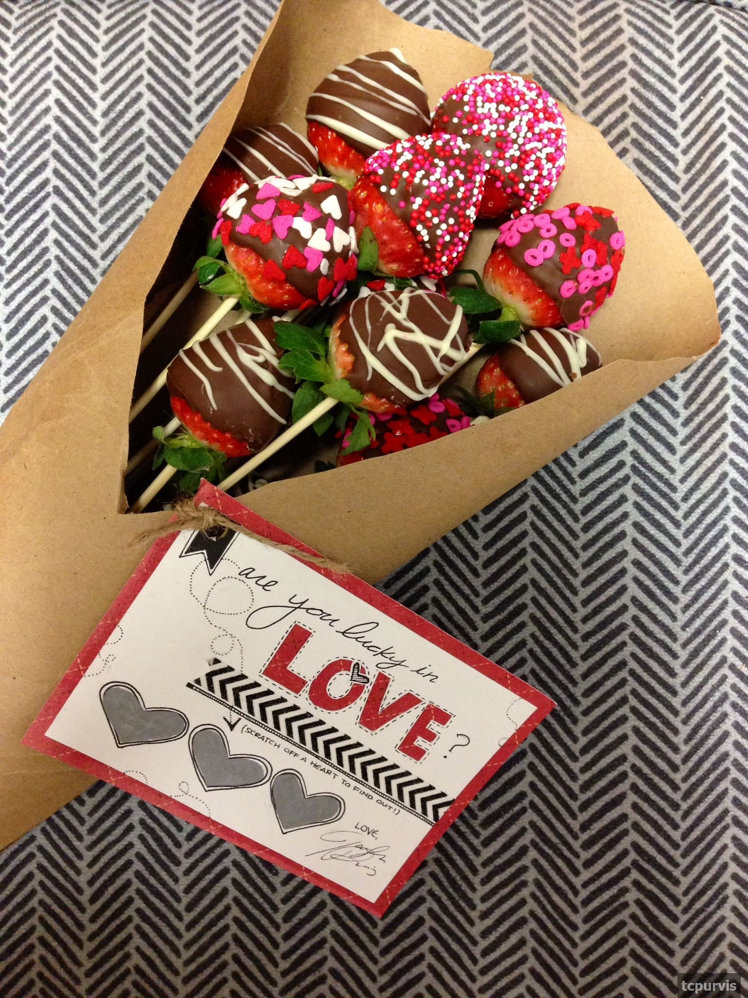 Bouquet Of Chocolate Covered Strawberries And Scratch Off Valentine