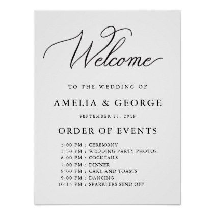 Welcome Order Of Events Wedding Sign Zazzle Com In 2020 Wedding Order Of Events Wedding Signs Romantic Wedding Decor