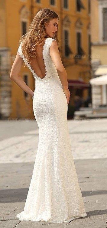 Sheath Column Scoop Floor-length Lace Wedding Dress   Beach Wedding ...
