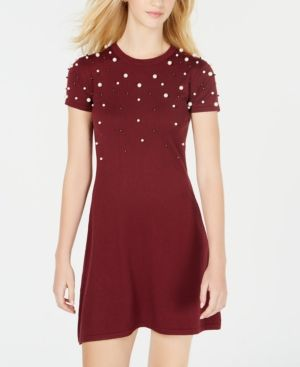 Planet Gold Juniors Embellished Sweater Dress Black L Products