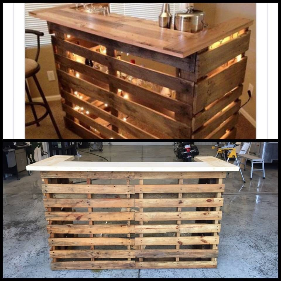 Pallet Bar With Lights Boardsandmoredesign