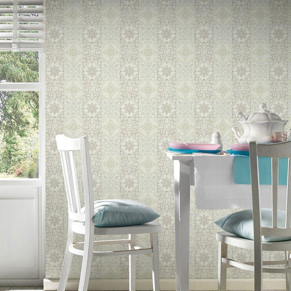 Papel pintado azulejo cl sico beige y crema pda8300423 for Papel pintado imitacion azulejo