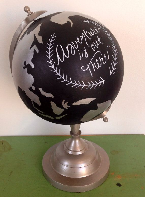 Hand Painted World Globe 8 Inch Adventure Is Out There Wedding Travel Decor  Quote Graduation Gift