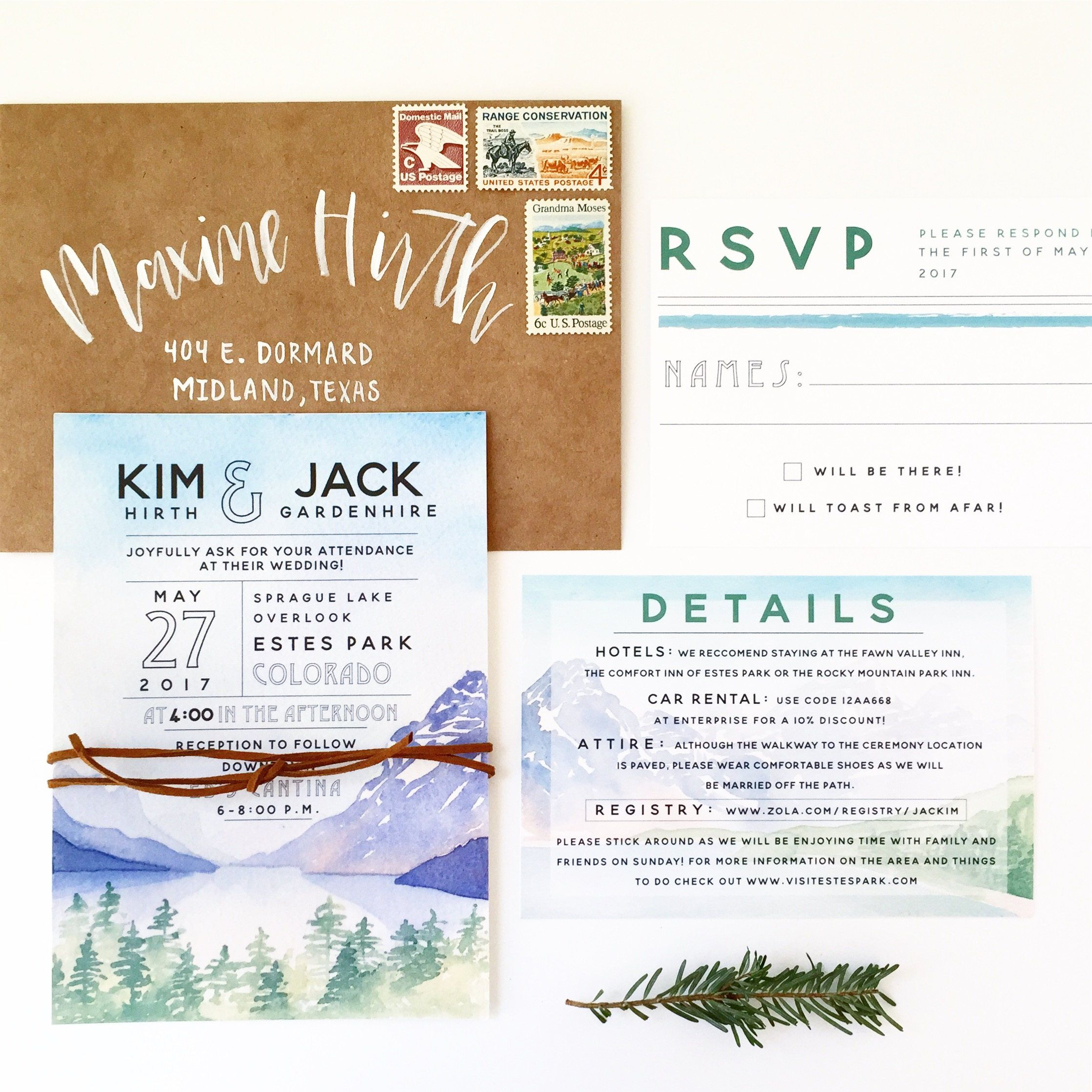 This mountain invitation suite with watercolor details is so pretty ...