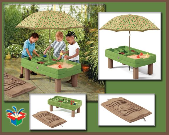 Sand Table With Umbrella And Tie Down Lid Sand Water