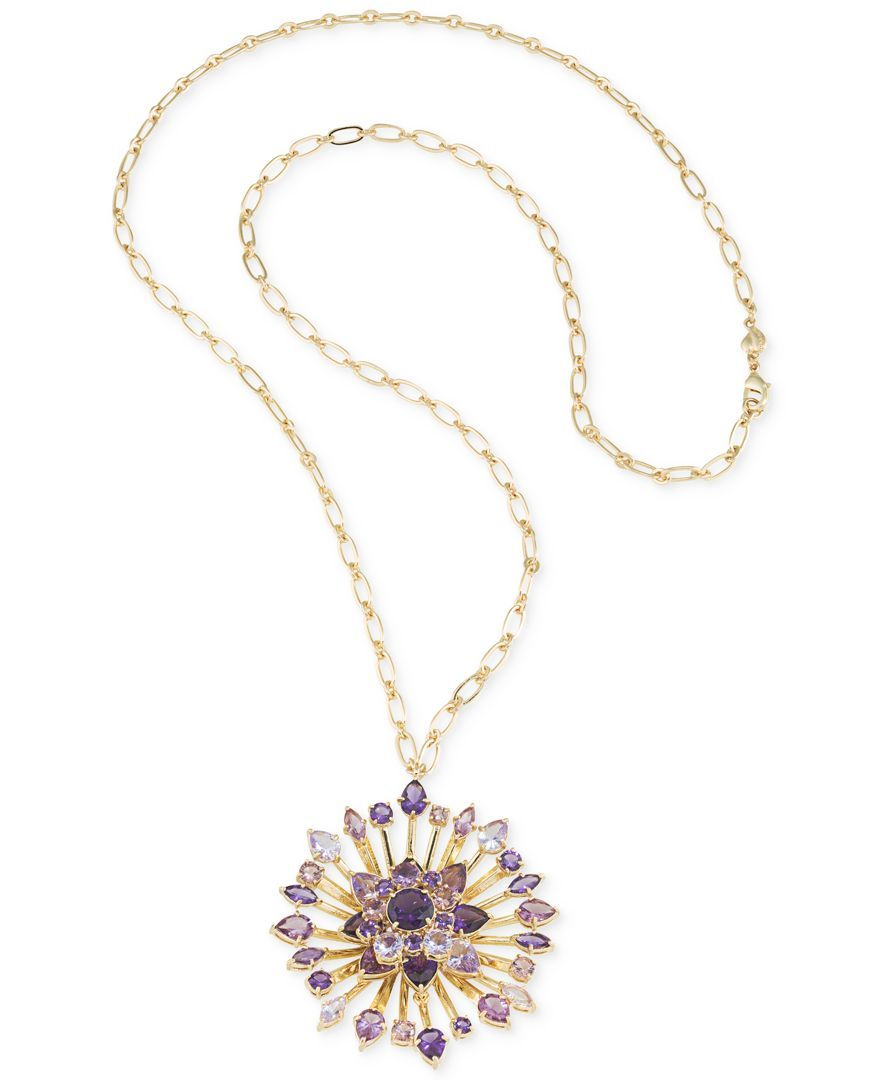 Carolee Gold-Tone and Purple Stone Flower District Long Pendant Necklace