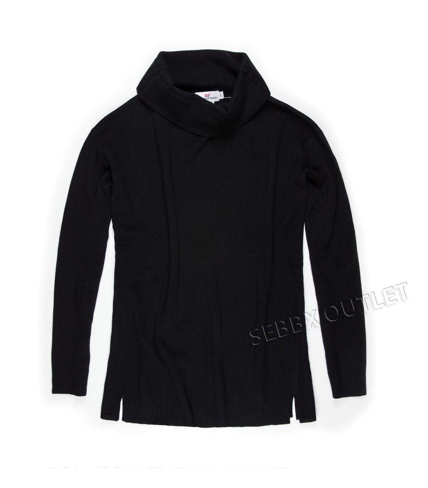 New Womens Vineyard Vines Turtleneck Sweater Merino Wool Black ...