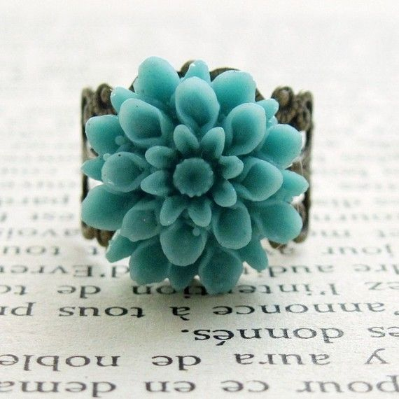 Turquoise Flower Ring Dahlia Flower Vintage Style Cocktail Ring Garden Dreams Turquoise Flowers