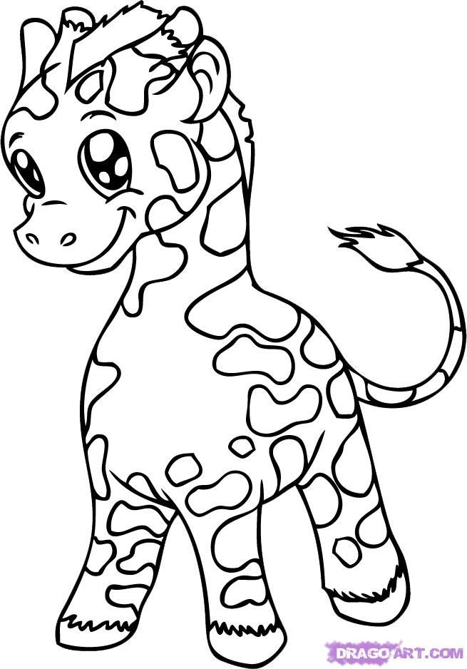 Line Drawings Of Cute Animals : Cute baby giraffe coloring pages books and