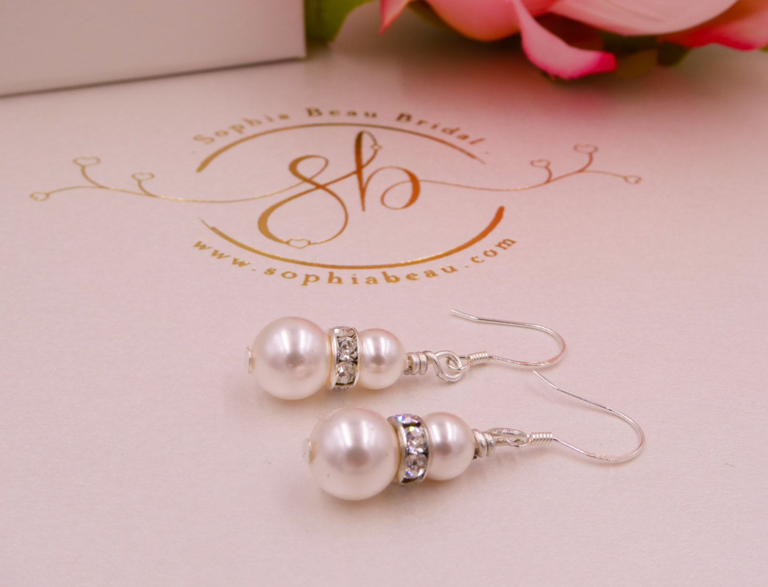 Pearl drop earrings with diamante rondelles Sterling Silver brides, mother of the bride, Made to your colour and size by SophiabeauBridal on Etsy