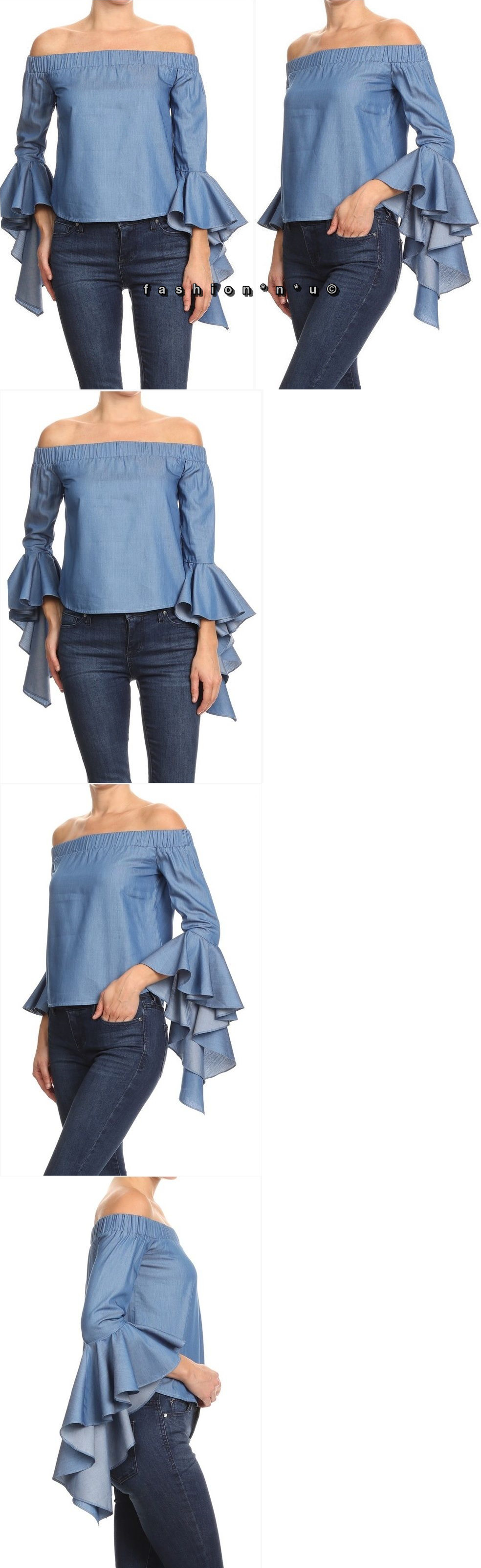 Tops and blouses plus size denim off shoulder ruffle bell