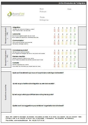Grille valuation de l 39 int gration mod le gratuit de - Grille evaluation entretien embauche ...