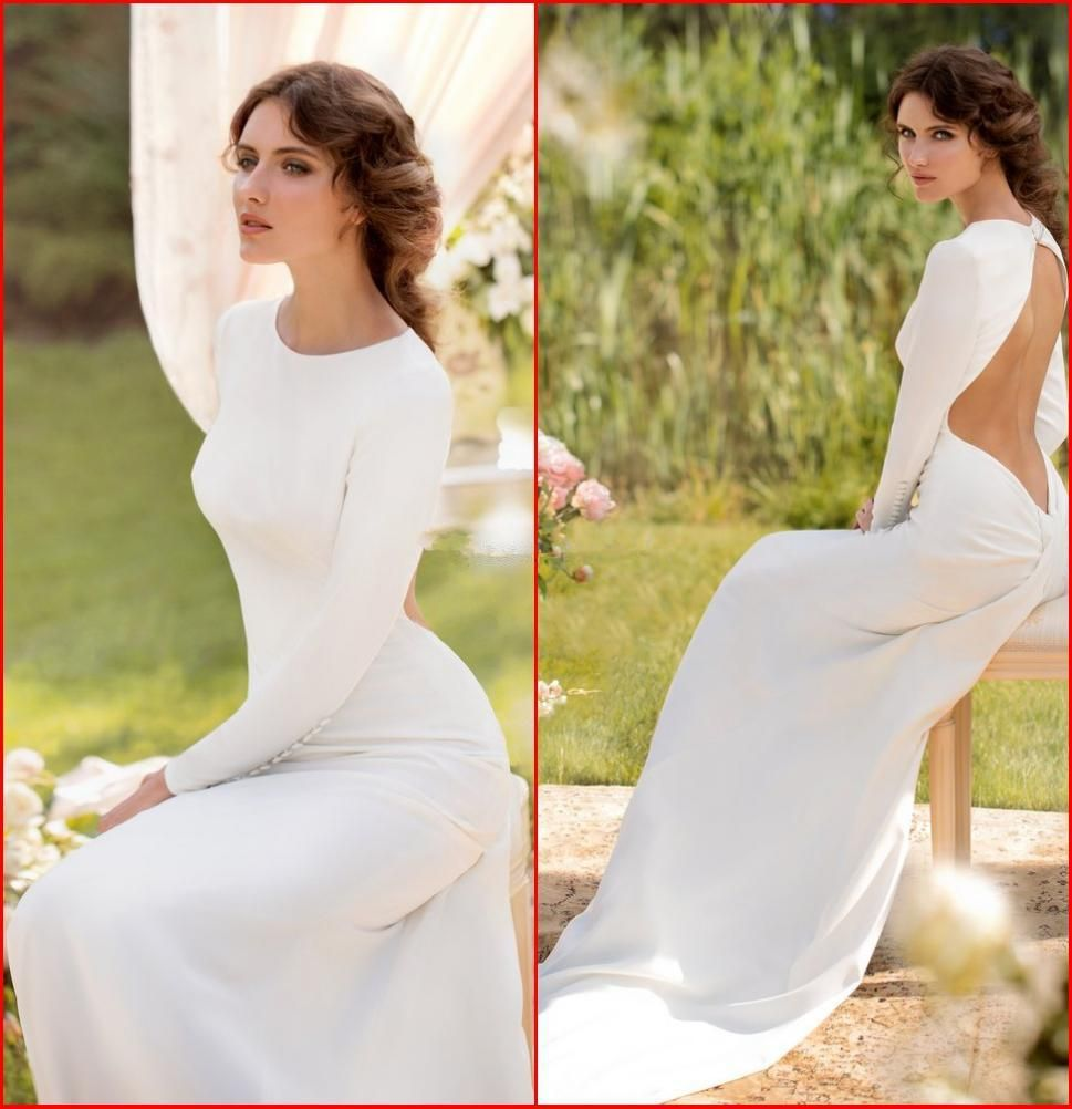 White mermaid prom dresses crew long sleeves backless evening gowns