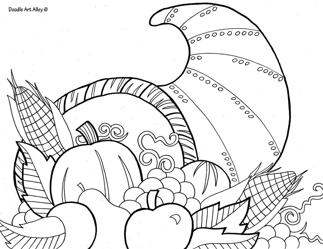 Coloring Page - Cornucopia   Holidays   Pinterest