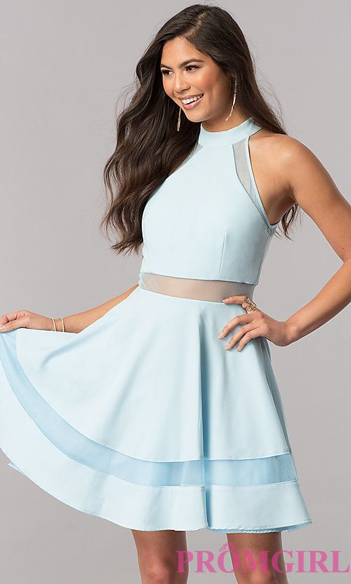 High-Neck Light Blue Short Homecoming Party Dress | Homecoming 2017 ...