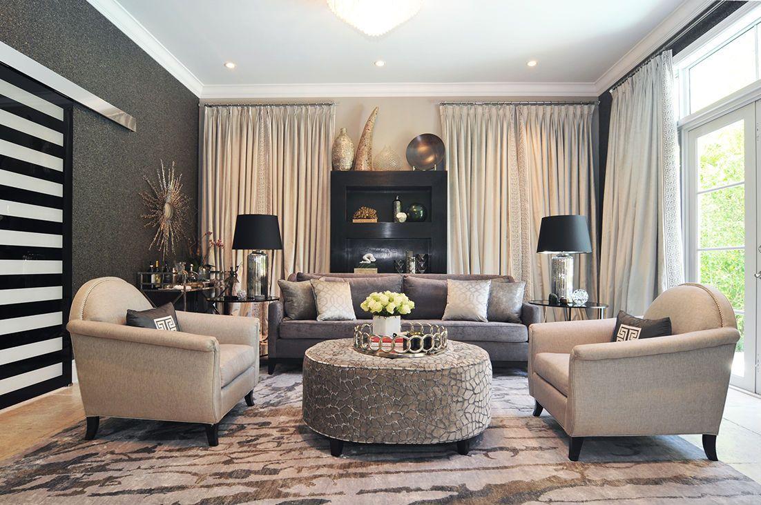 Glam Living Room Mica Wallpaper Velvet Drapes Gray Sofa Stunning Living Room Miami Inspiration Design