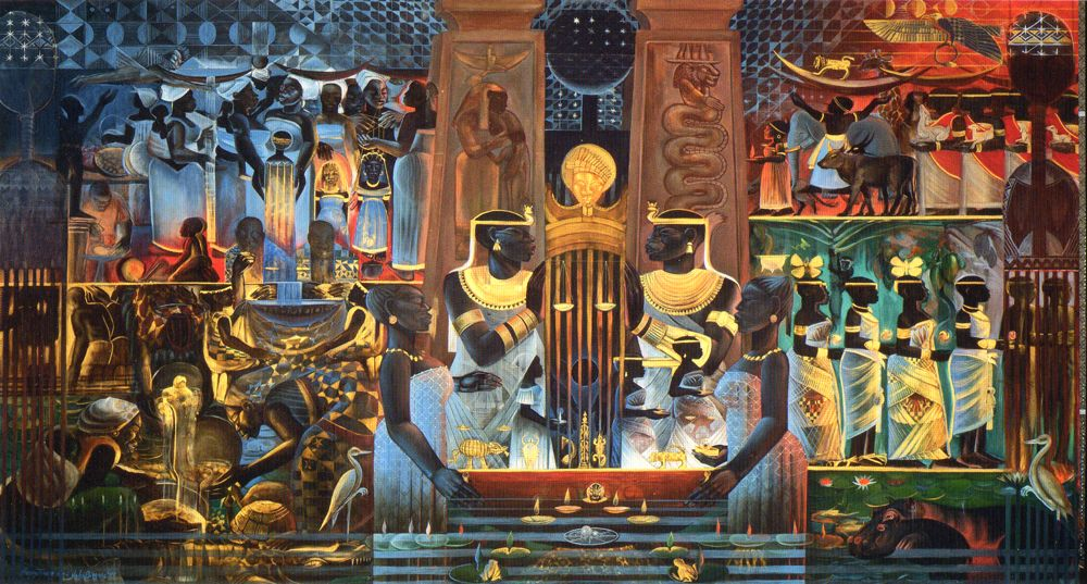 John biggers murals nubia the origins of business and for Black history mural