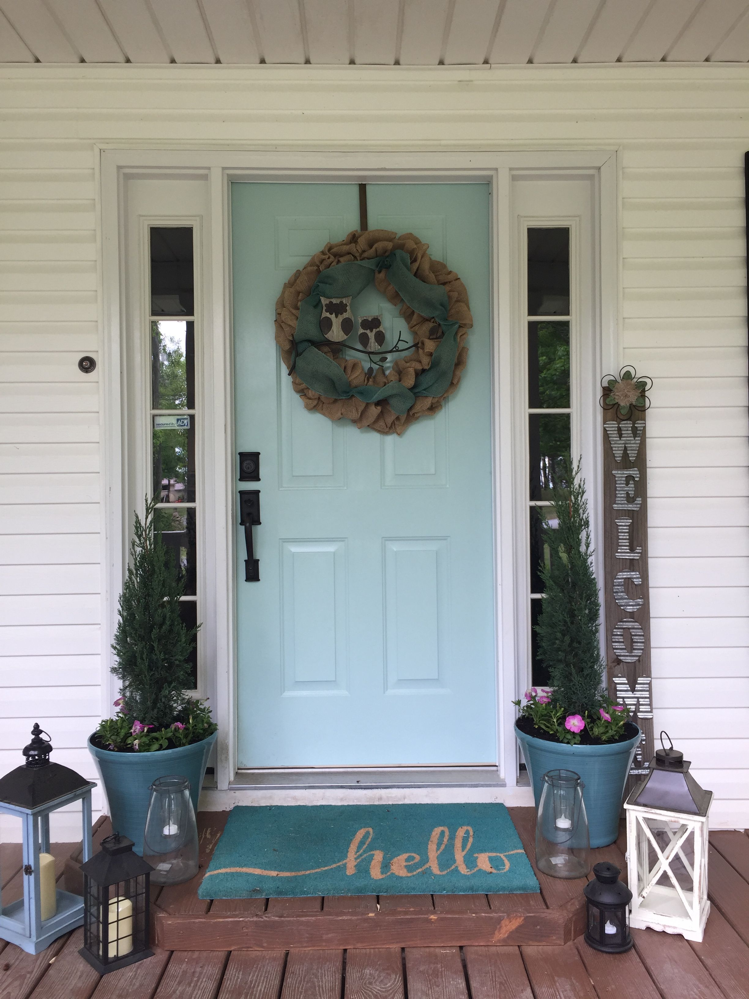Front Porch With Lanterns Sherwin Williams Watery Paint On Door
