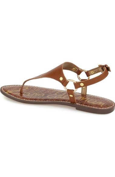 Free shipping and returns on Sam Edelman 'Greta' Sandal (Women) at Nordstrom.com. Variegated texturing puts a subtly exotic spin on a minimalist thong sandal fitted with harness-style detailing at the ankle.