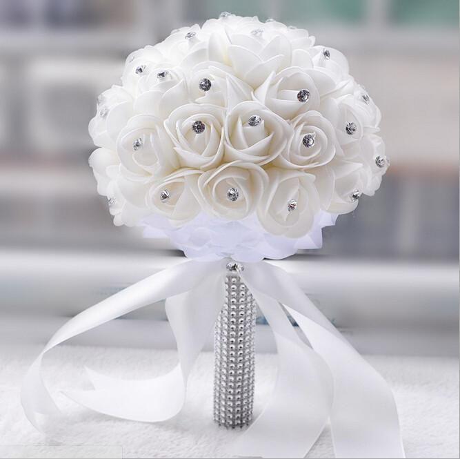 Beautiful White Ivory Bridal Flower Wedding Bouquet Artificial