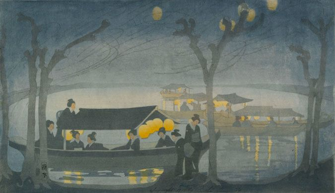 Bertha Lum (American, 1879–1954), On the River, 1913, Woodcut in color, 26 x 44.9 cm, Gift of the Achenbach Foundation for Graphic Arts, Brooklyn Museum.