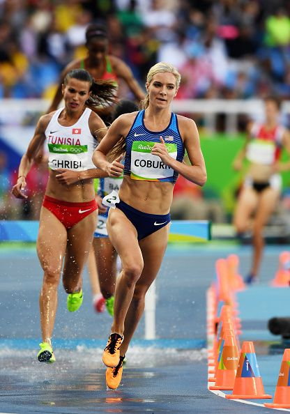 Emma Coburn of the United States competes in the Women's Steeplechase Round  1 on Day 8 of the Rio 2016 Olympic Games at the Olympic Stadium on August  2016 ...