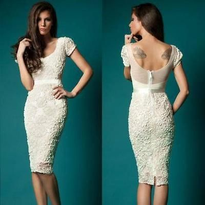 Short Lace Sheath Bridal Gown Sheer White Ivory Knee Length Wedding ...