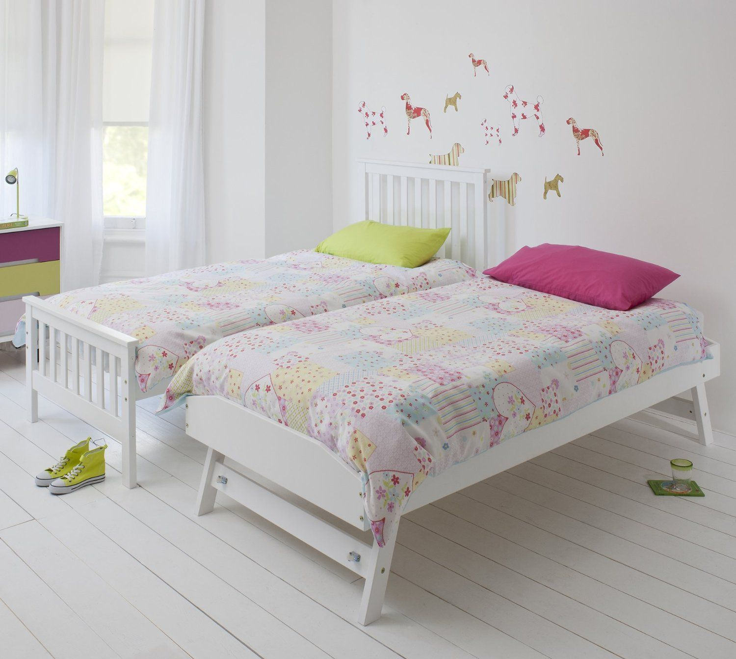 Single Bed in White with Trundle, Extra Sleepover Bed 2 in