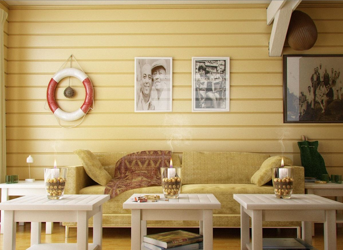 Home design, Reminiscent Wall Art Over Crate Tables And Sofa In ...