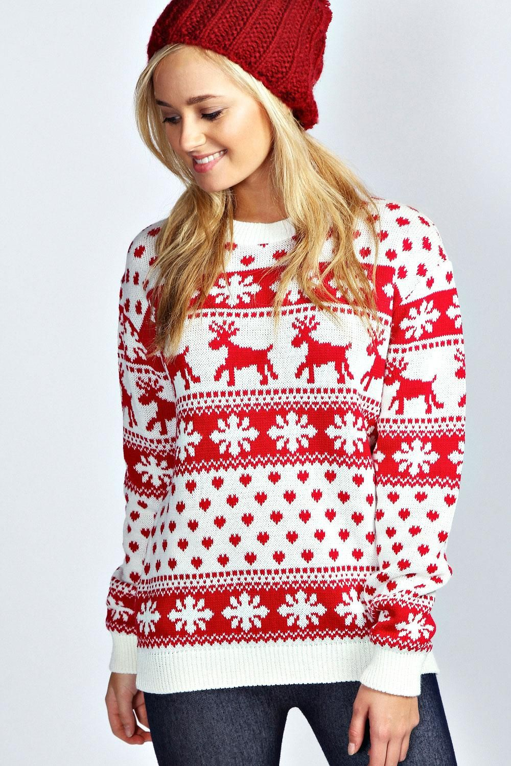 Shop Snowflake Deer Pullover Sweaters online. SheIn offers